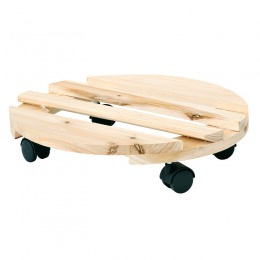 Round natural wood trolley